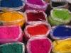 Gekleurde rijst voor Kolams
