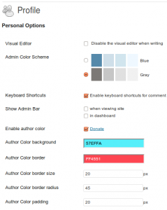 Author Color - Profile personal options